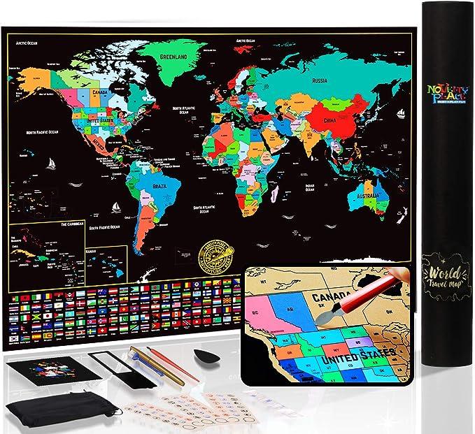 Mapa del mundo para rascar con estados y banderas, póster de mapa de viaje, kit completo de rascador incluido, tamaño grande, 61 x 43 cm, regalo de arte de pared de primera