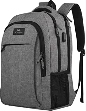 Travel Laptop Backpack with USB Charging Port + Water Resistant