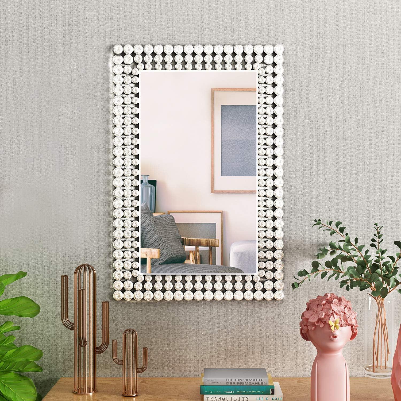 Kohros Antique Venetian Mirror Silver Rectangle Jeweled Wall Mirror Amazon Co Uk Kitchen Home