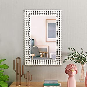 "KOHROS Large Antique Wall Mirror Ornate Glass Framed Venetian Decor Mirror Bedroom,Bathroom, Living Room (W 23.6"" x H 35.4"" Rectangle)"