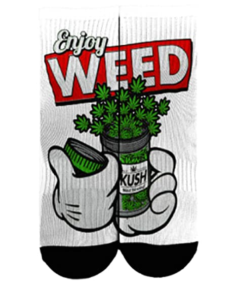 420 Cannabis Stoner Enjoy Weed Socks (small 6-8)