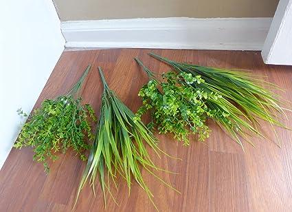 1 Set Of 4 Artificial Grass Bush Plastic Plants For Living Room Home Decor  Indoor Outdoor