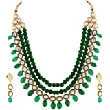 Shining Diva Brass Kundan Traditional Necklace Jewellery Set with Earrings for Women and Girls (Green)