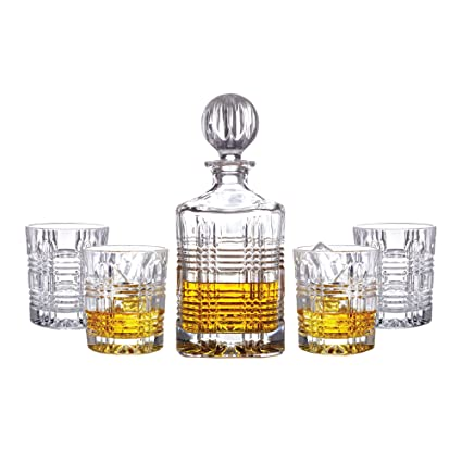 Nice Fitz And Floyd Portland 5 Piece Crystal Whiskey Barware Set With Decanter  And 4 Double