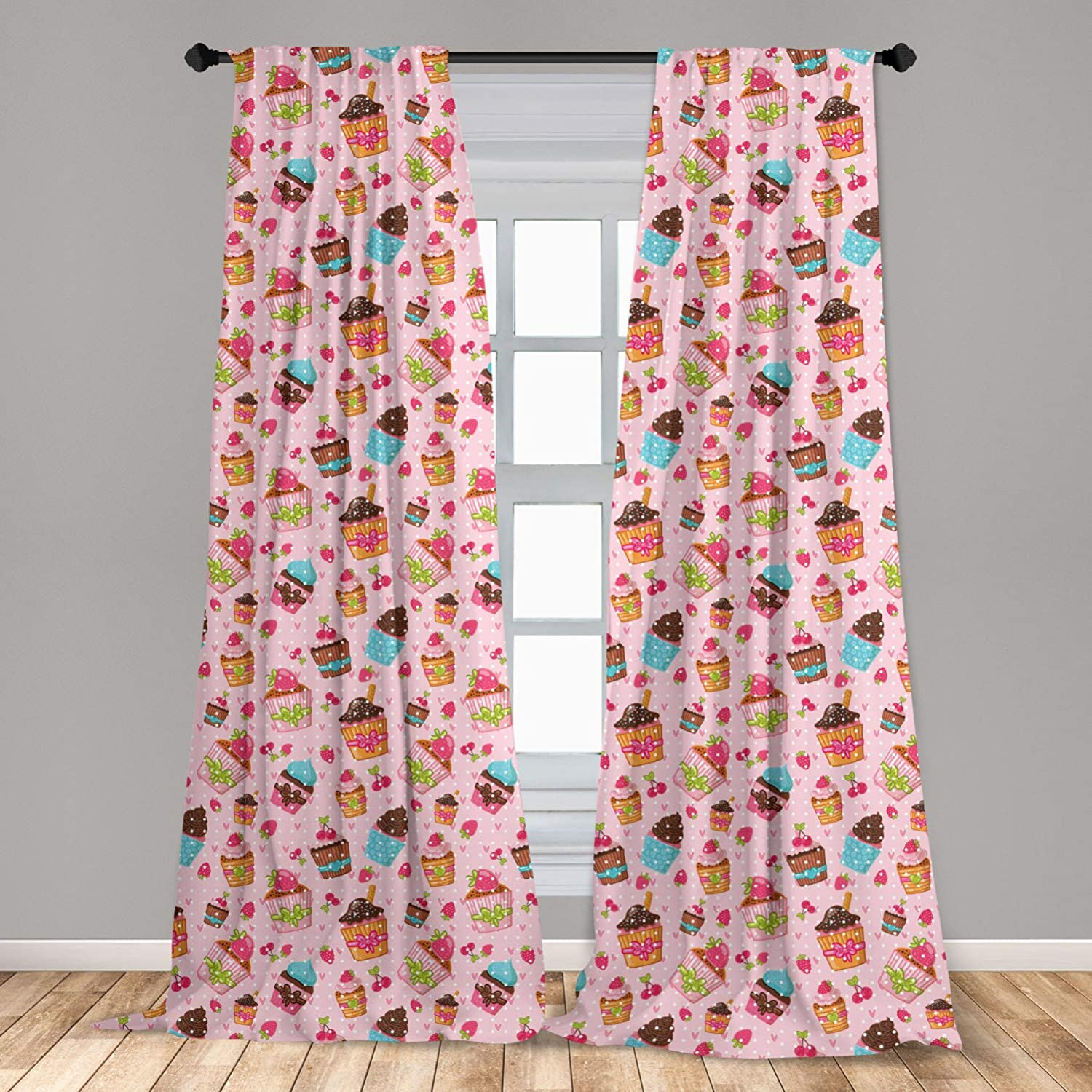 Ambesonne Pink Curtains 2 Panel Set, Kitchen Cupcakes Muffins Strawberries and Cherries Food Eating Sweets Print, Lightweight Window Treatment Living Room Bedroom Decor, 56