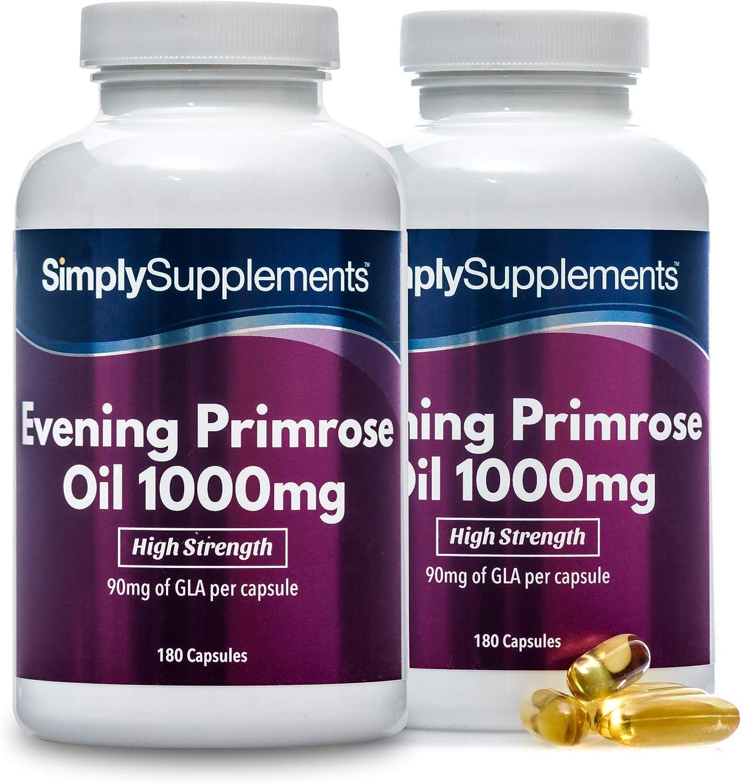 Aceite de onagra 1000 mg - ¡Bote para 1 año! - 360 Cápsulas - SimplySupplements: Amazon.es: Salud y cuidado personal