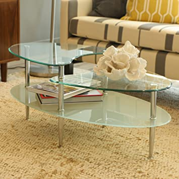 Amazoncom Walker Edison Glass Oval Coffee Table Kitchen Dining
