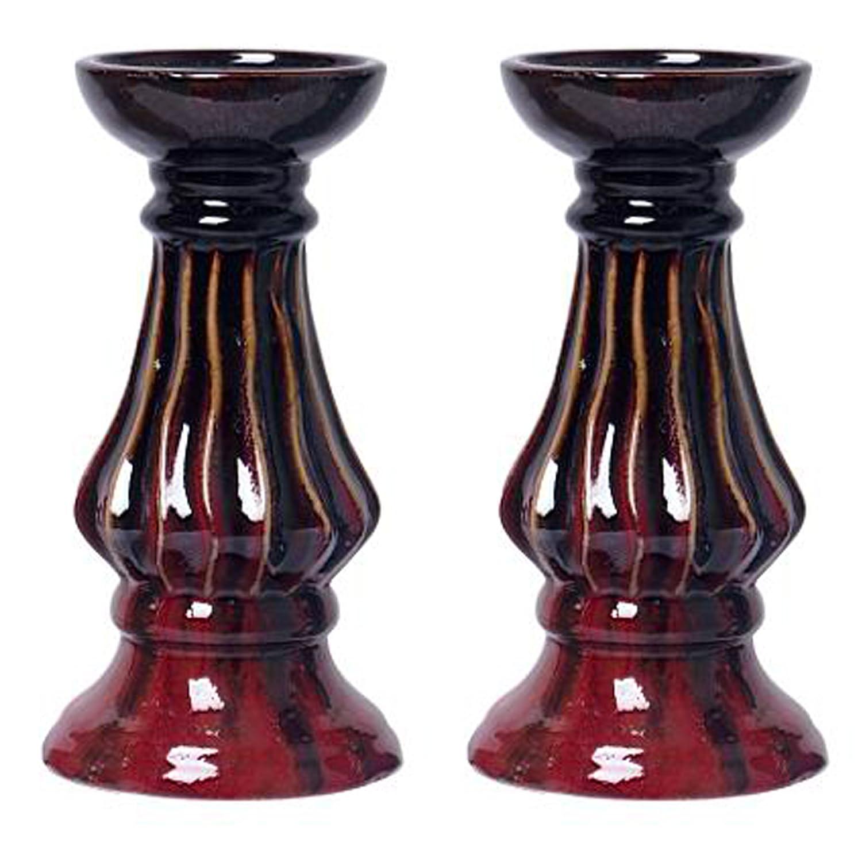 Hosley's SET OF 2 - 9H Ceramic Red Pillar Holder-Ideal Gift for weddings, House warming, Home office HG Global FBA-G61893ON-2-EA