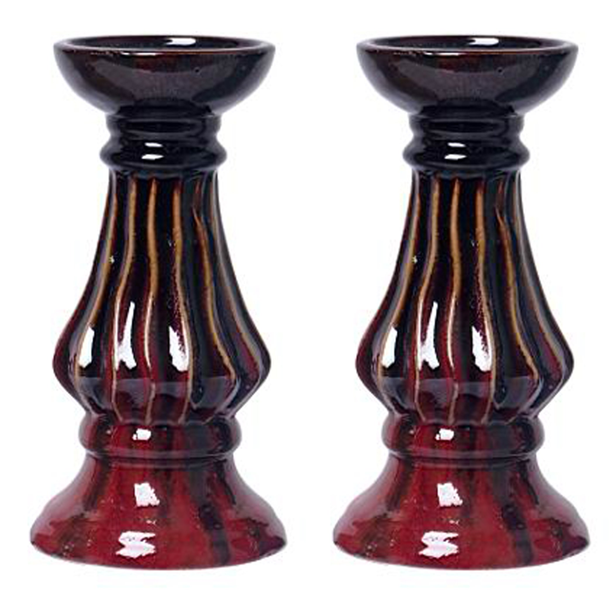 Hosley Set of 2-9'' High Ceramic Pillar Candle Holder, Red Glaze Finish. Ideal Gift for Weddings, House Warming, Home Office, Spa, Votive/Pillar Candle Garden O7
