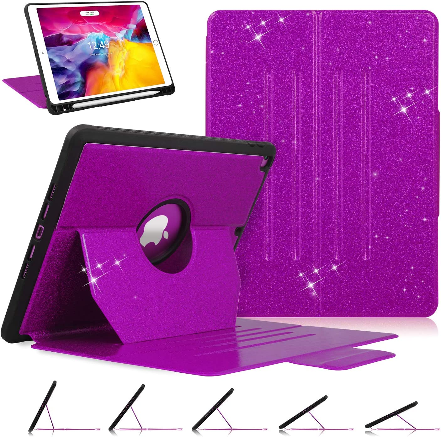 Case for iPad 8th Generation / iPad 7th Generation 10.2-inch, Luxury [ Glitter Sparkly ] [ 5 Magnetic Angles ] Shockproof Protective Cover Compatible with Apple iPad 10.2 2020 & 2019, Purple