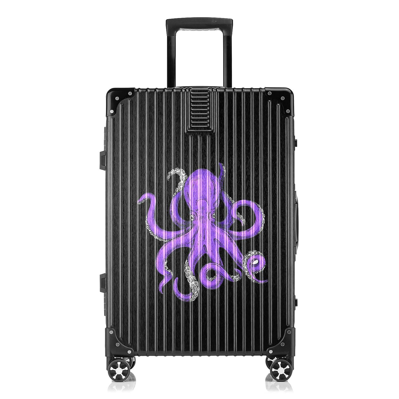 GSHCJ スーツケース 海洋生物のタコ キャリーケース 20インチ おしゃれ ブラック Tsaロック搭載 プリント ハード 超軽量 軽い 機内持込 ロックファスナー 旅行 ビジネス 出張 海外 修学旅行 丈夫 便利 レディース メンズ 学生 B07S1BSWFB