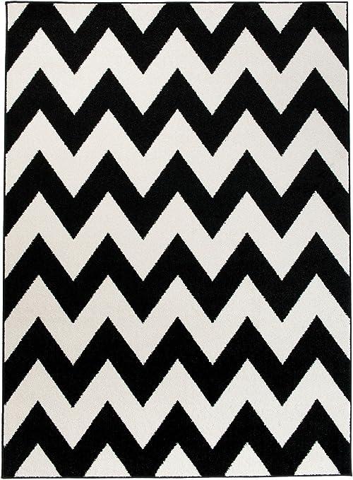 Grande Tapis De Salon - Blanc Noir - Motif Chevron Zig Zag - Design Moderne  & Traditionnel - Parfait Pour La Chambre - Plusieurs Coloris & Tailles \
