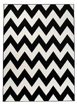 Petit - S - Tapis de Salon Chambre - Blanc Noir - Motif Oriental avec Un  Design Contemporain - Moderne - Géométrique - Zigzag -Casablanca la ...