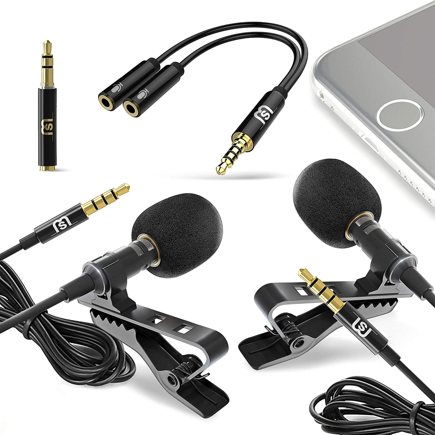 2-Pack Bundle Ultimate Lavalier Microphone for Bloggers and Vloggers Lapel Interview Mic Clip-on Omnidirectional Condenser for iPhone Ipad Samsung Android Windows Smartphones