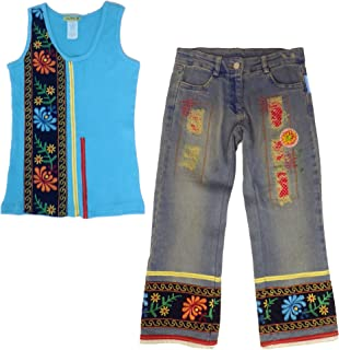 product image for Little Mass Mexican Boho Embroidered Funky Tank Top & Denim Capri Outfit