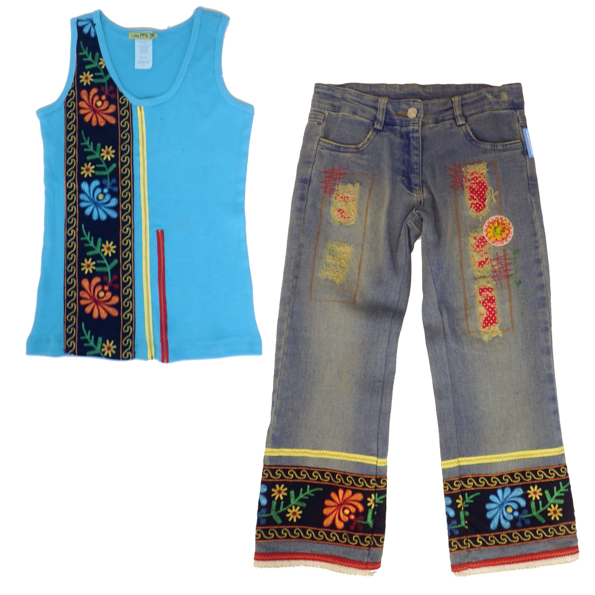 Little Mass Mexican Boho Embroidered Funky Tank Top & Denim Capri Outfit
