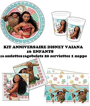 Set completo Disney Vaiana decoración cumpleaños 16 niños (16 platos, 16 tazas, 20 servilletas ,1 mantel) fiesta