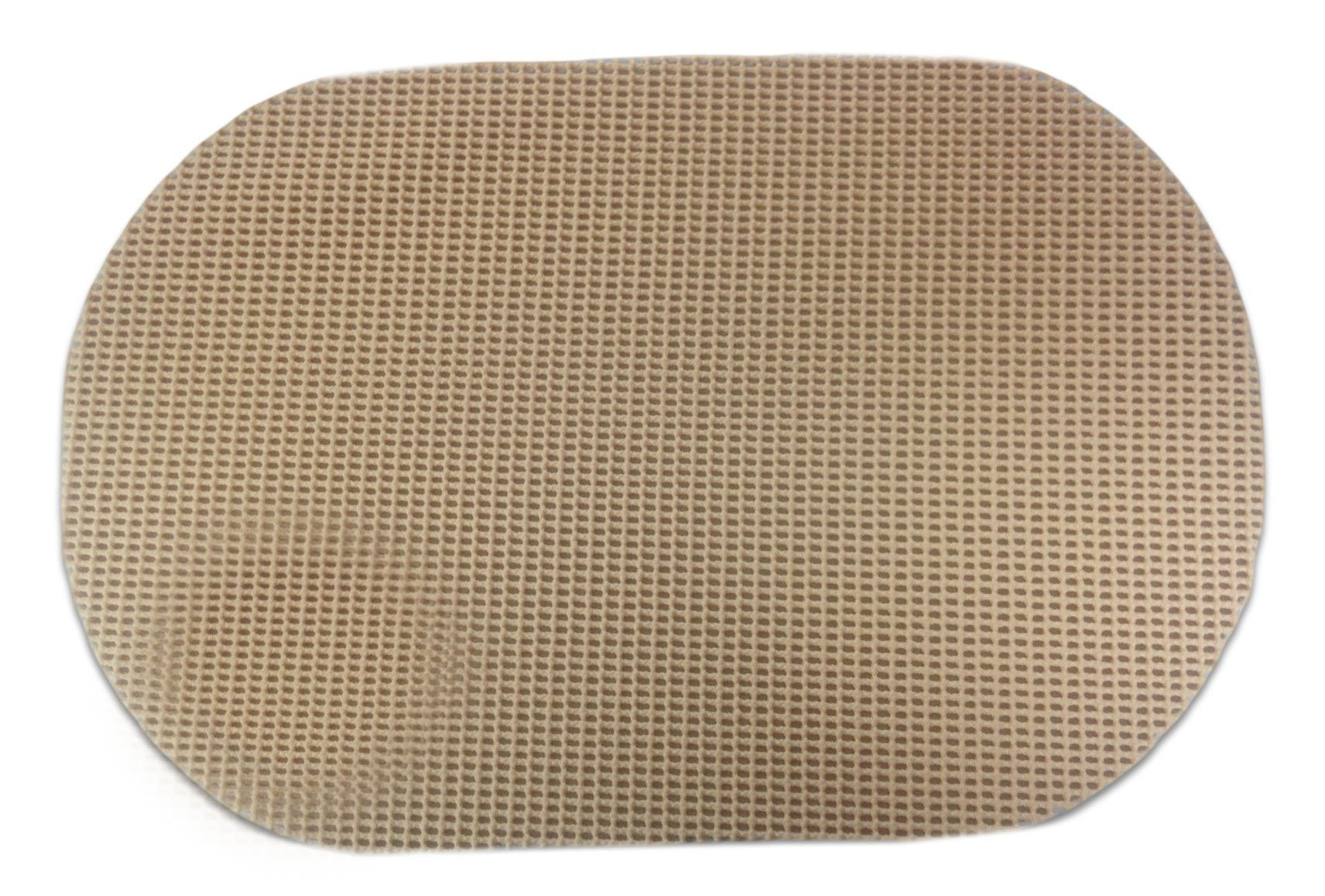 "Unique & Custom {12'' x 18'' Inch} Set Pack of 6 Oval ""Non-Slip Grip Texture"" Large Table Placemats Made of Flexible Vinyl w/ Light Simple Rustic Country Woven Waffle Perforated Design [Tan Color]"