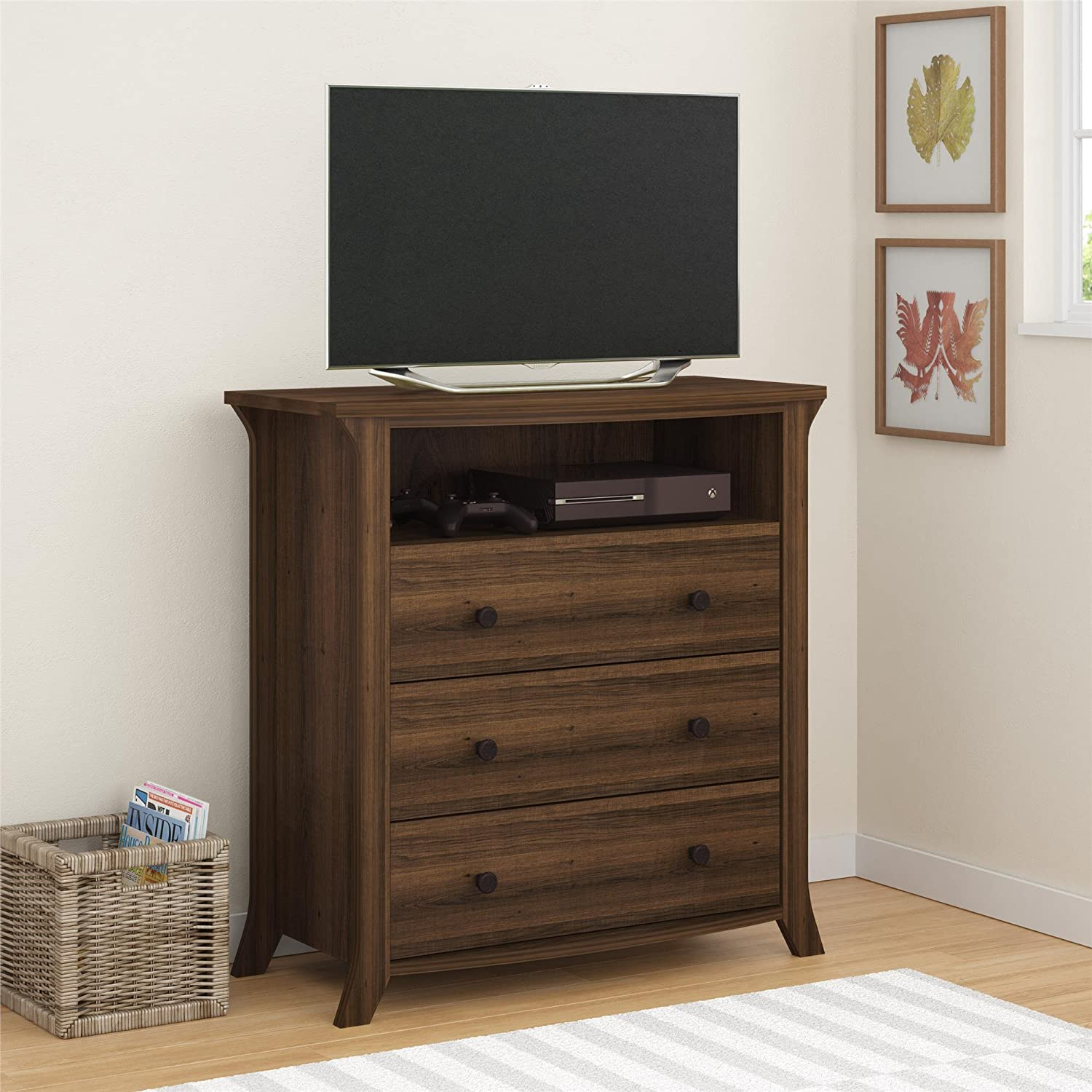 Amazon com  Ameriwood Home Oakridge 3 Drawer Media Dresser  Brown Oak   Kitchen   Dining. Amazon com  Ameriwood Home Oakridge 3 Drawer Media Dresser  Brown