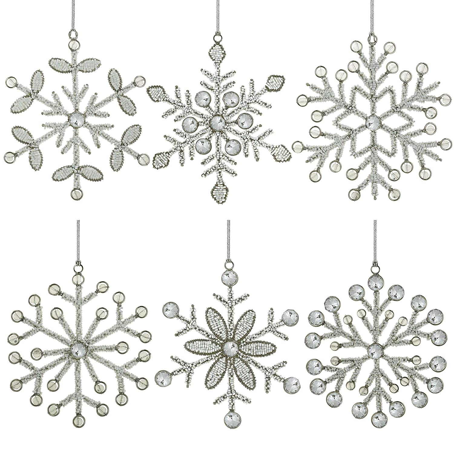 Handmade Iron and Glass Snowflake Christmas Ornaments Set of 6