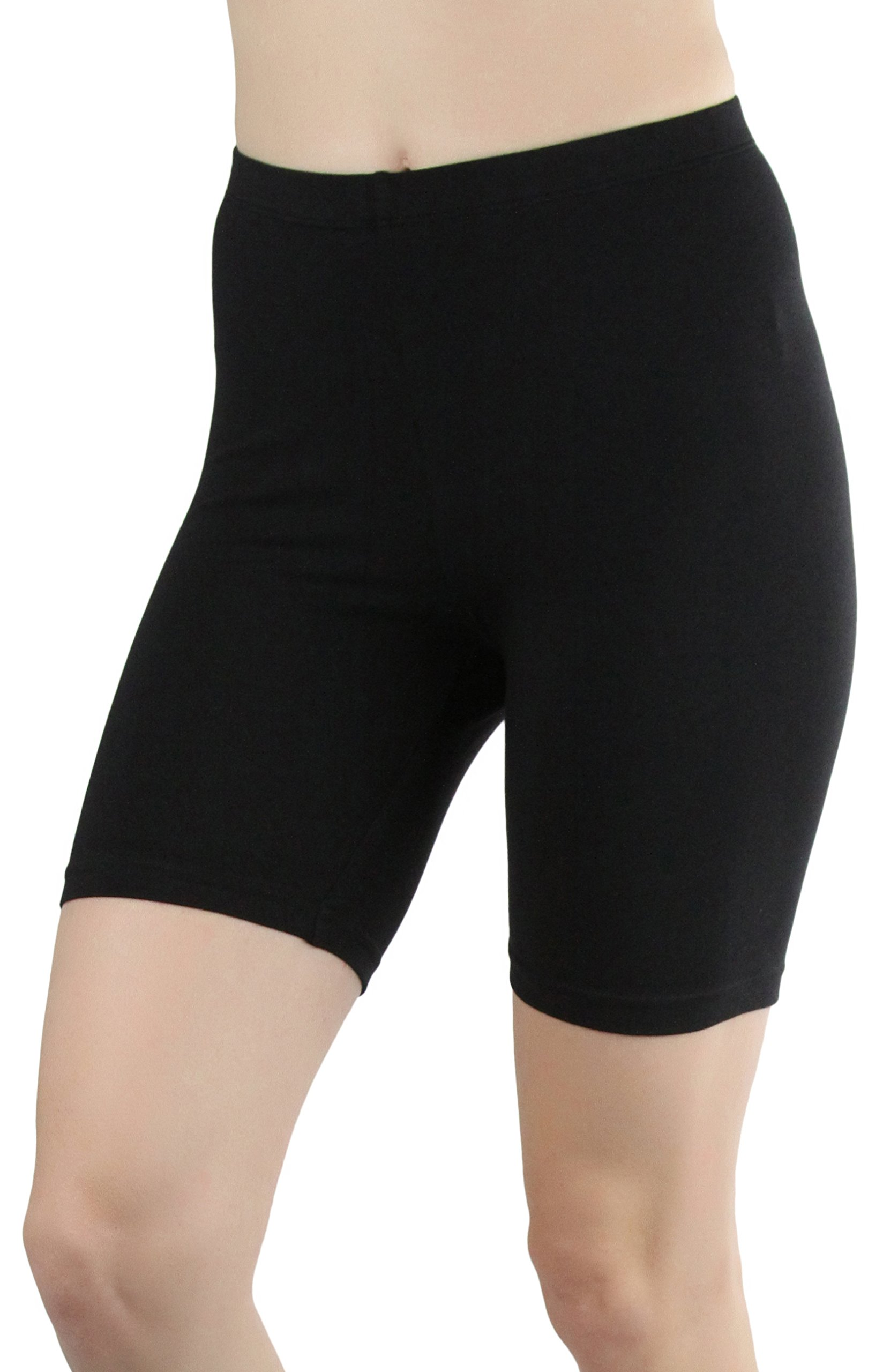 ToBeInStyle Women's Cotton-Spandex Blend 15'' Outseam Shorts - Black - Medium