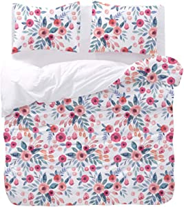 Wake In Cloud - Floral Duvet Cover Set, Flowers Leaves Botanical Plant Pattern Printed on White, Soft Microfiber Bedding (3pcs, Queen Size)