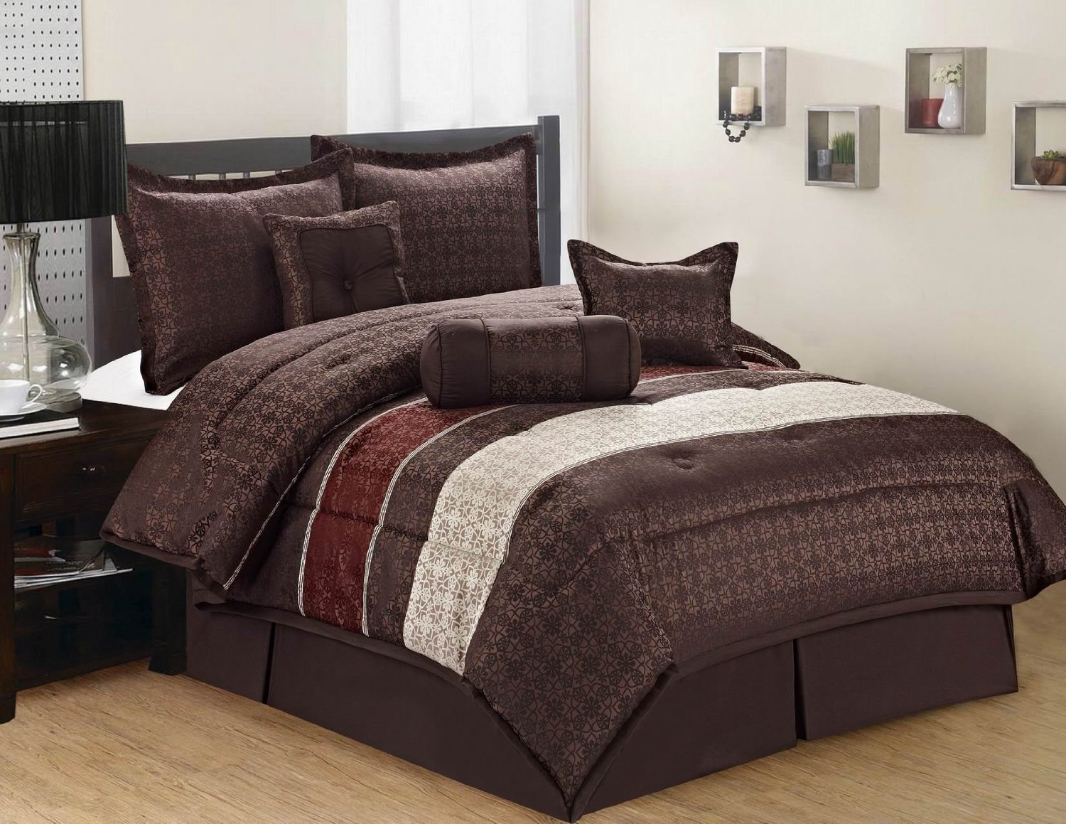 Jacquard 7 Pieces Brown Beige & Burgundy Striped and Floral Comforter Bedding Set