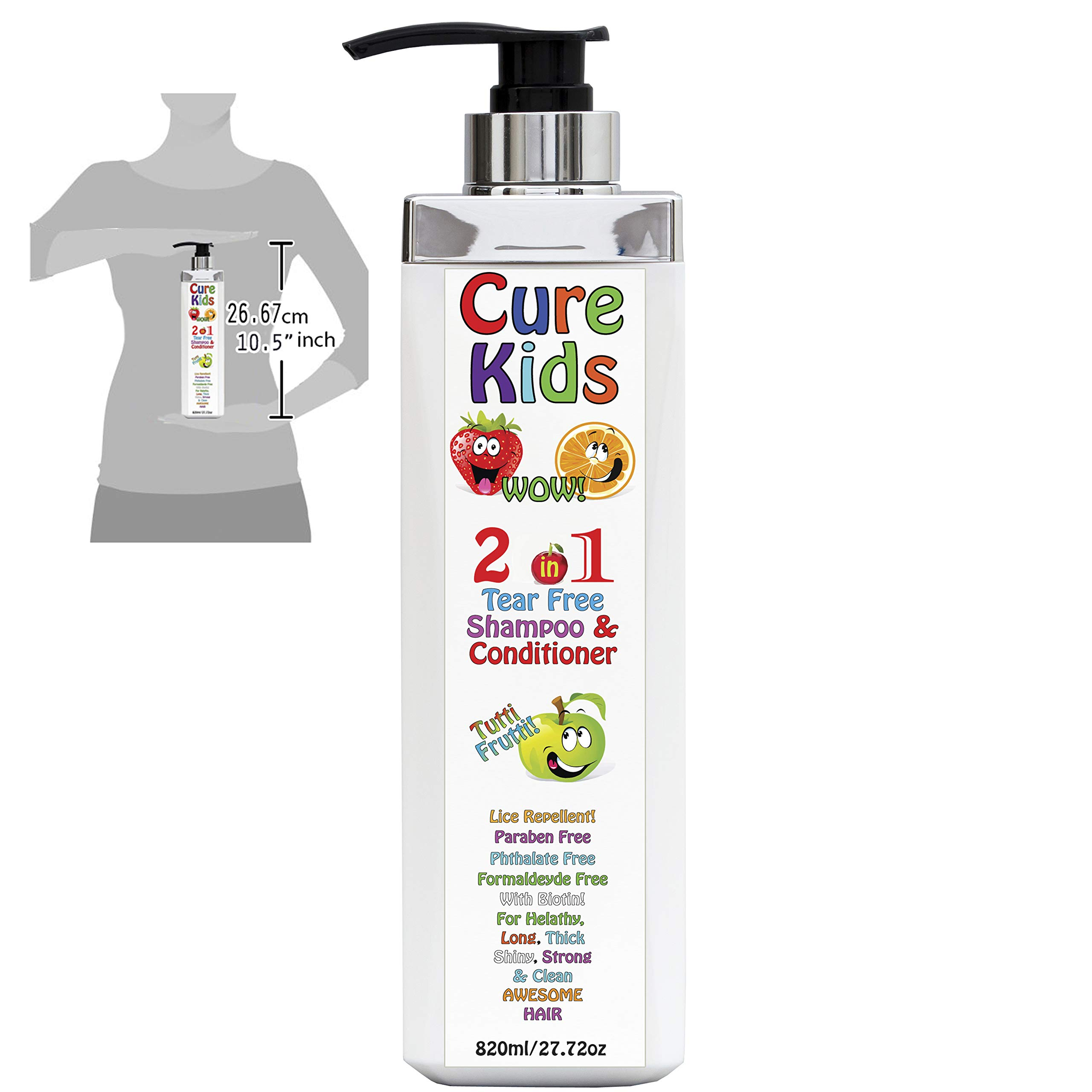 Kids Head Lice Repel 2 in1 Tutti Fruity Daily Shampoo & Conditioner Free of sulfates Paraben & Toxins/No Tears Cleanse Moisturize Detangler Organic blend of Oils Safe for scalp (27 fl oz) by Keratin Cure