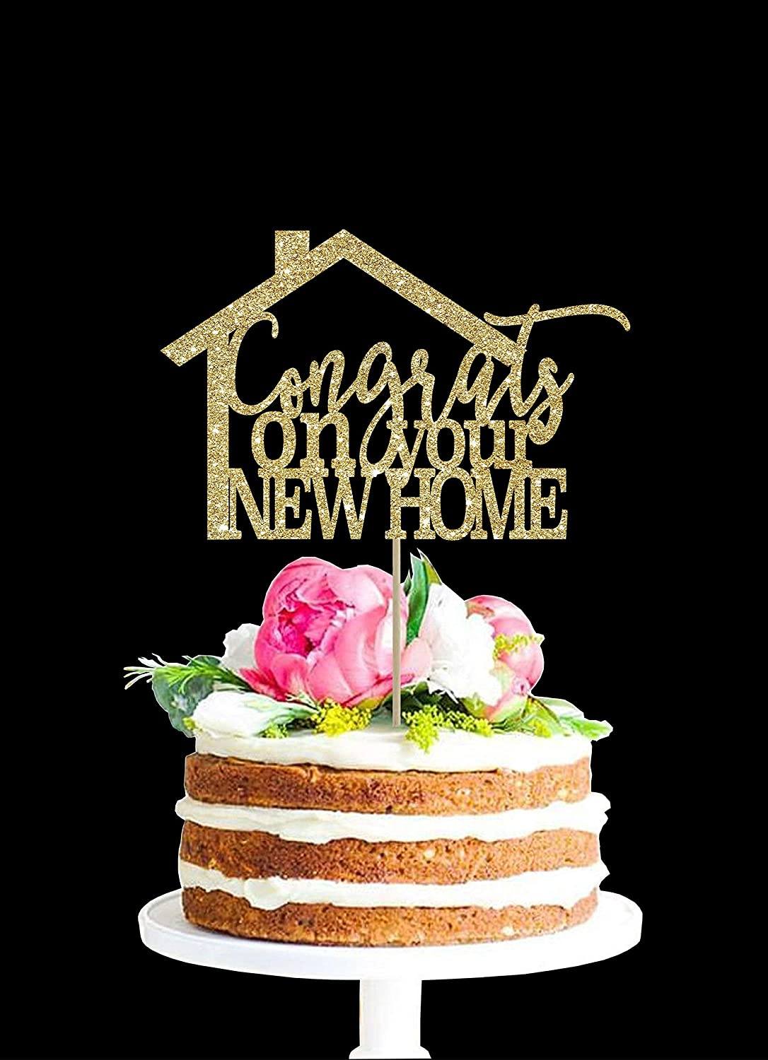 Congrats On New Home New Home Cake Topper House Warming Gift Centerpiece House Cake Topper Home Decoration New Home Decoration Amazon Co Uk Kitchen Home