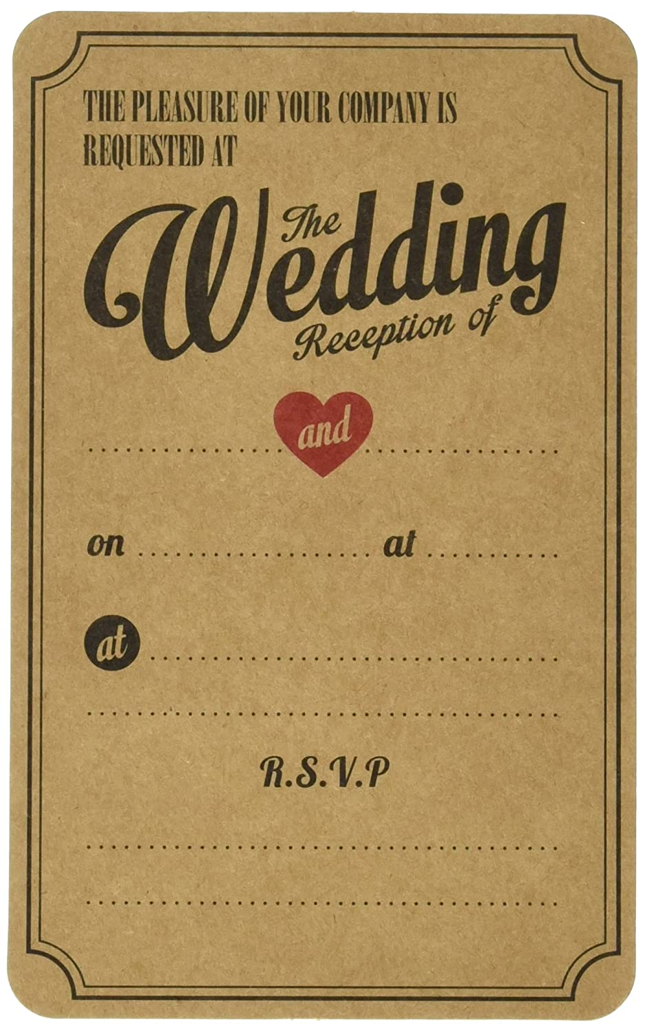 Ginger Ray Evening Wedding Reception Brown Kraft Wedding Invitations ...