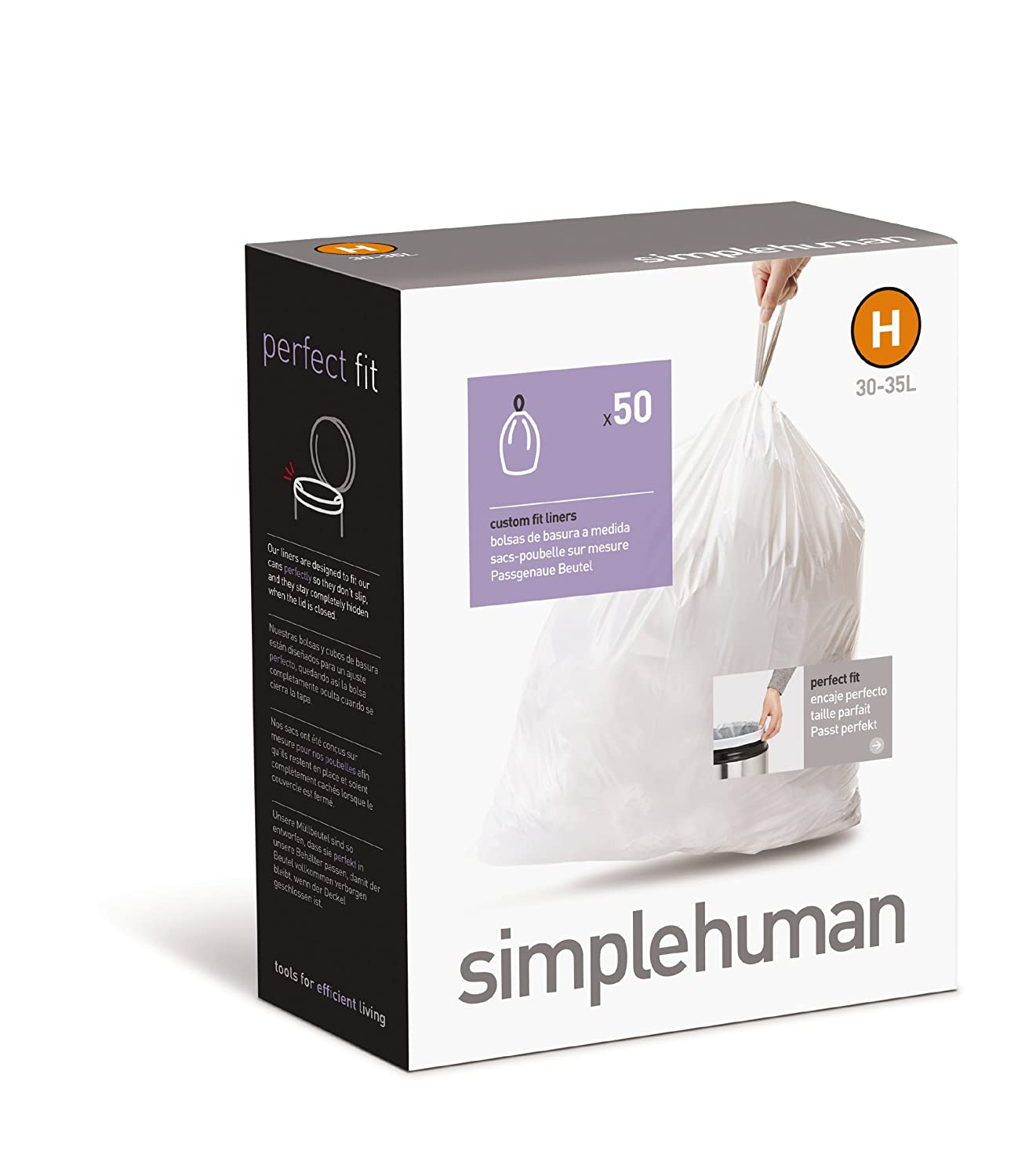 simplehuman Custom Fit Trash Can Liner H, 30-35 L / 8-9 Gal, 50-Count Box