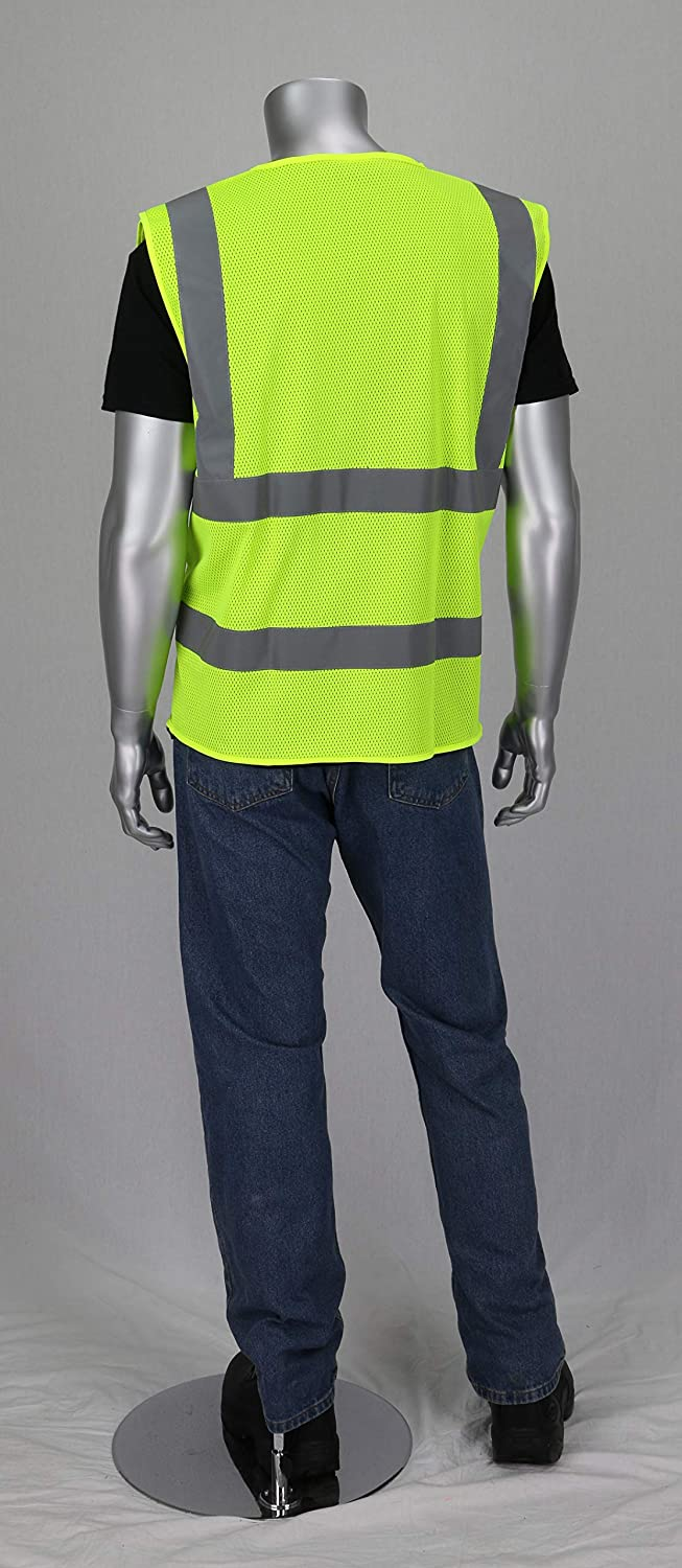 Worktex Safety WT52004 Safety Vest Pack of 5 Zipper closure, Breathable polyester mesh survey crews Ideal for roadway construction workers utility workers and emergency response personnel Designed to ANSI 2015 standards railway and metro workers