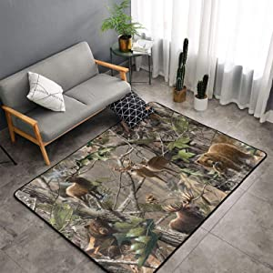 Cozy Slip Resistant Indoor Modern Area Rugs Fluffy Living Room Hunting Camo Moose Deer Bear Fish Forest Animal Carpets/60 X 39 Inch for Children Amusement Bedroom Home Decor Nursery Rugs