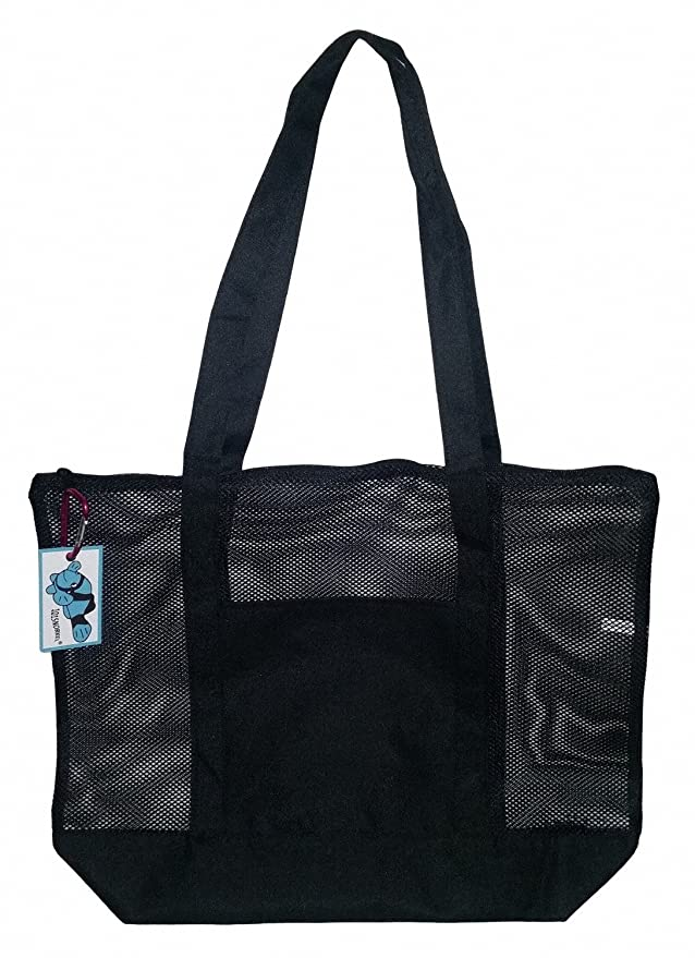 89552e440ac87e Amazon.com: Mesh Beach Tote Bag Black - Good for the Beach - 20 in X 15 in  X 5 In: Clothing