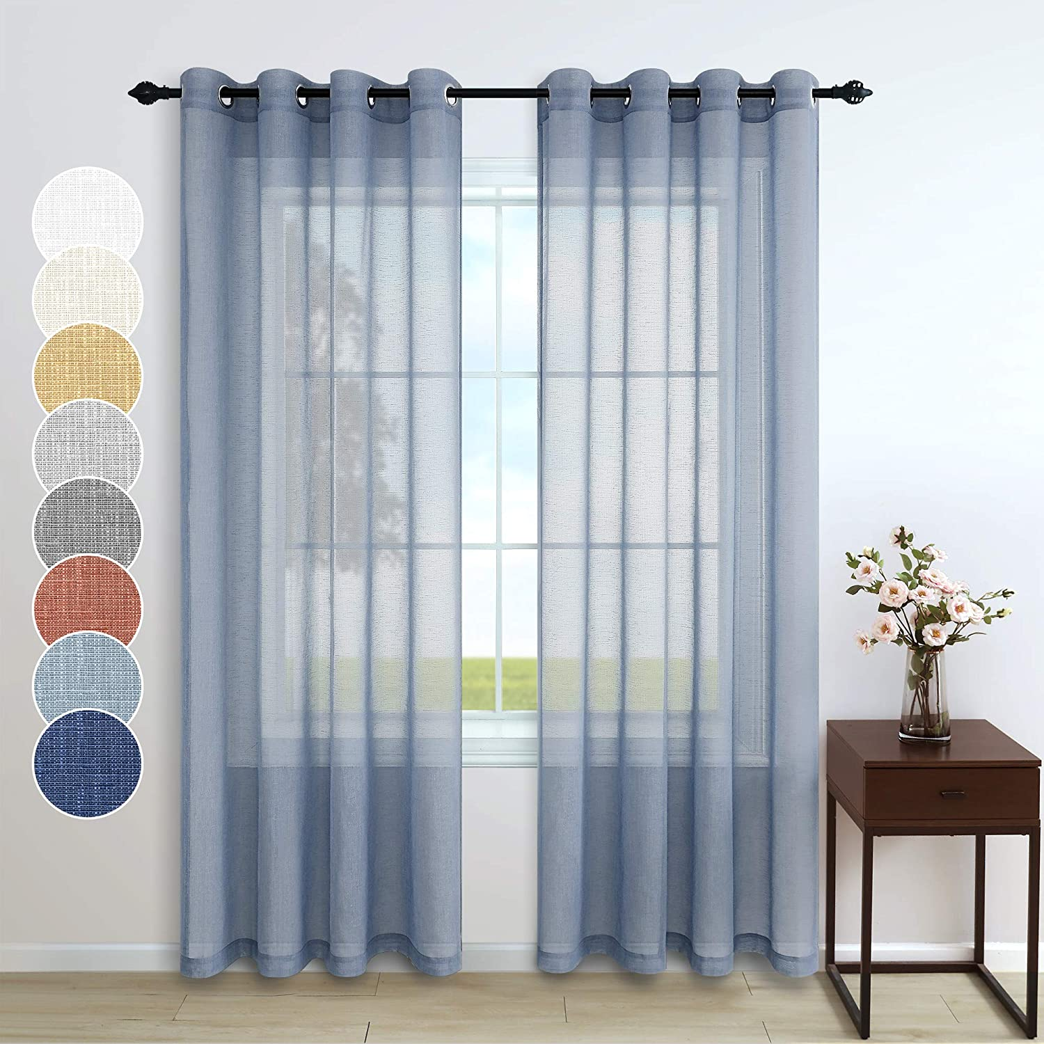 Pitalk Dusty Blue Curtains 84 Inch Length for Living Room Decor 2 Panels Grommet Linen Look Translucent Country Blue Semi Sheer Curtains for Bedroom Dining Bay Window Accents 52x84 Long Grey Gray Blue