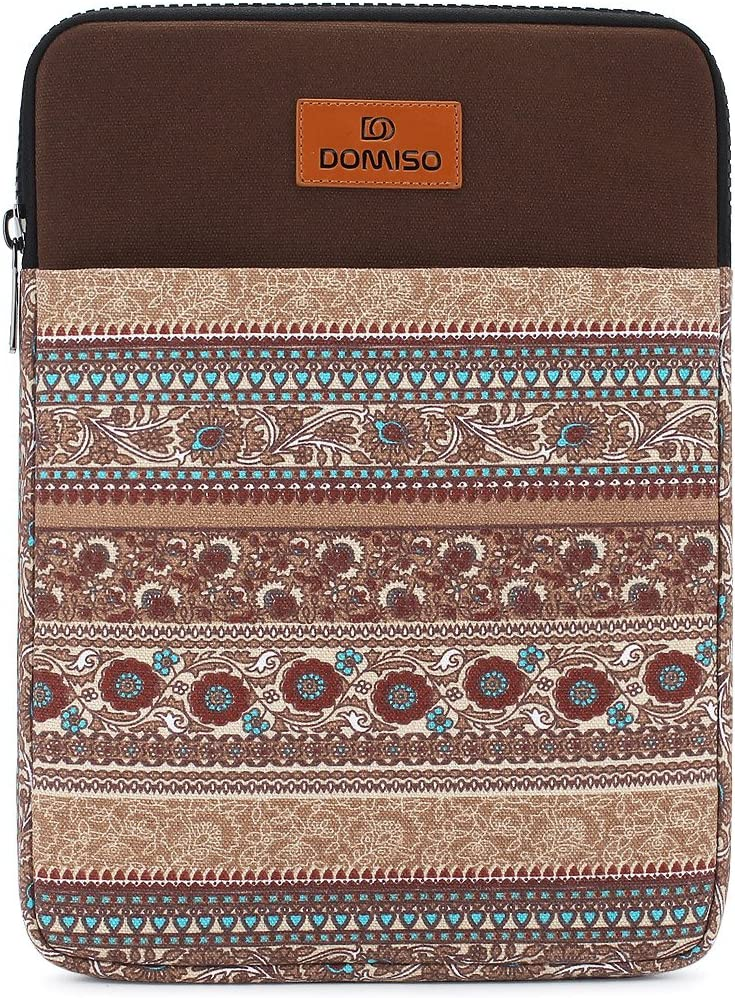 "DOMISO 14 inch Laptop Sleeve Case Notebook Bag Canvas Fabric Flower Pattern Cover for 13.5"" Microsoft Surface Book / 14"" Lenovo IdeaPad 320S / 14"" HP Pavilion 14/13.3"" Dell Latitude 3380, Brown"