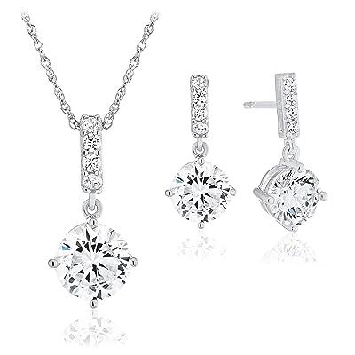 Silver necklace 925 set with Crystals Cubic Zirconia Brilliant Diamonds Silver Moon pendant