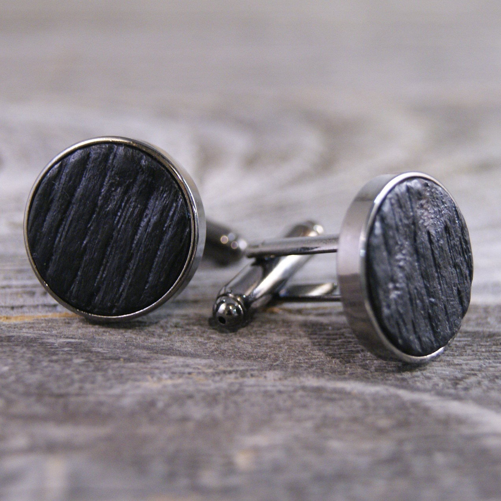 Cufflinks Crafted from a Whiskey Barrel Stave
