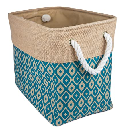 DII Collapsible Polyester Storage Basket or Bin with Durable Cotton Handles ...