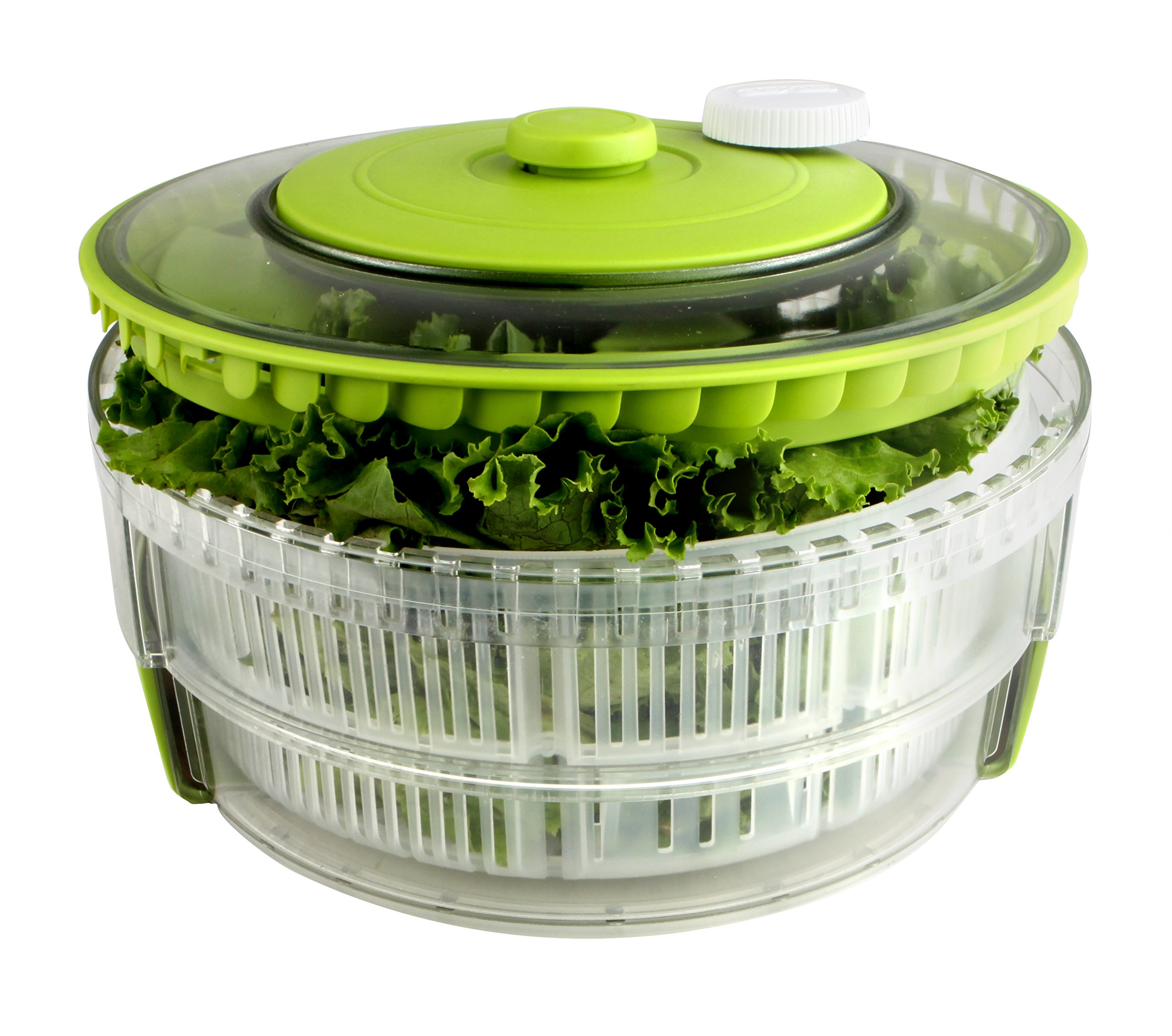 Dexas Turbo Fan Collapsible Salad Spinner, Natural/Green