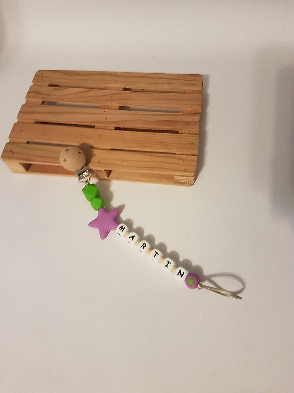 Cadena chupetes de silicona y madera personalizado con ...