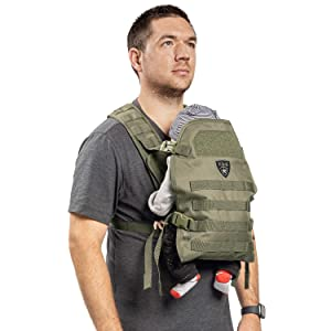TBG - Mens Tactical Baby Carrier for Infants and Toddlers 8-33 lbs - Compact (Ranger Green)