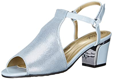 Soft Style by Hush Puppies Women's Dalyne Dress Sandal, Blue Fog/Sparkle  Shine/