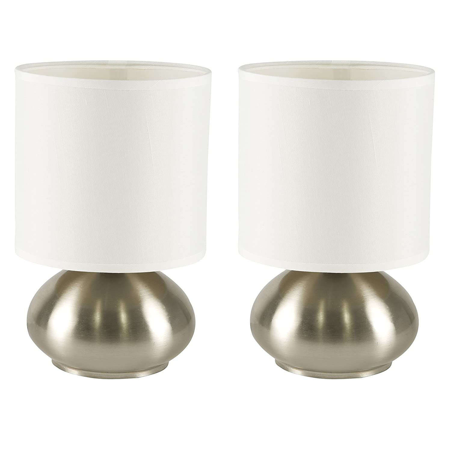 Delightful Light Accents Touch Lamps Set Of 2, Bedroom Side Table Lamps Brushed Nickel  (2 Pack)     Amazon.com