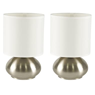 Touch Lamp Set by Light Accents - Touch On Lamp - Small Bedroom Lamps for Bedside Table Nightstand with Fabric Shades and 3-Stage Touch Dimmer Switch Brushed Nickel Finish (2-Pack)
