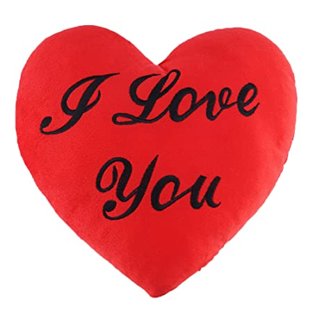 Cojín Forma de Corazón – Almohada con Mensaje de I Love You Para Día de San Valentín - Regalo peluche de Amor para Ocasiones Especiales Románticas - ...
