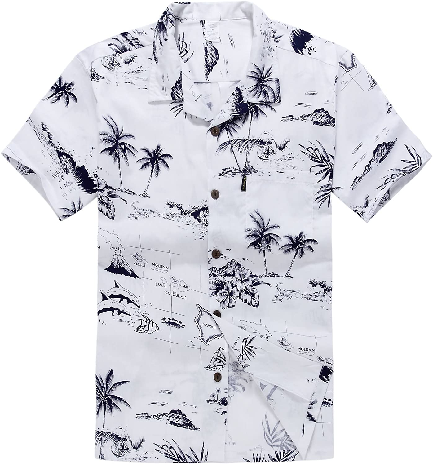 Palm Wave Men's Hawaiian Shirt Aloha Shirt White Map