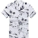 Palm Wave Men's Hawaiian Shirt Aloha Shirt White Map