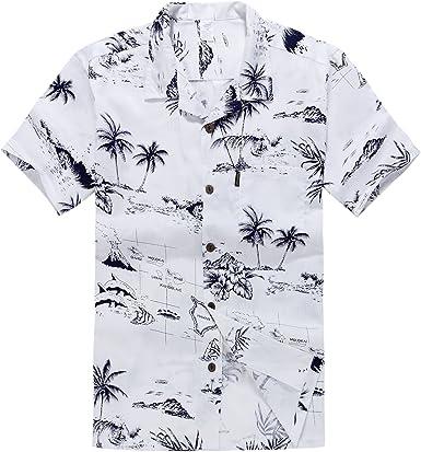 Hombres Aloha camisa hawaiana en Mapa y Paisajes Blanco: Amazon.es: Ropa y accesorios