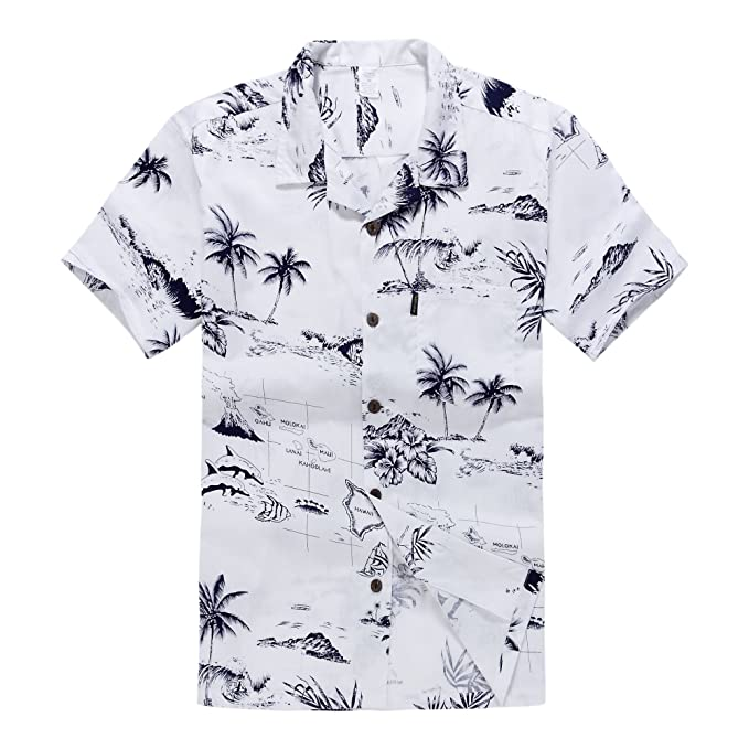 Palm Wave Men's Hawaiian Shirt Aloha Shirt S White Map
